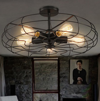 בציר חדש 5 ראשי ברזל מנורת תקרה מאוורר מתקן חדר אוכל מנורות לופט זוהר עבור בית תפאורה מסעדה