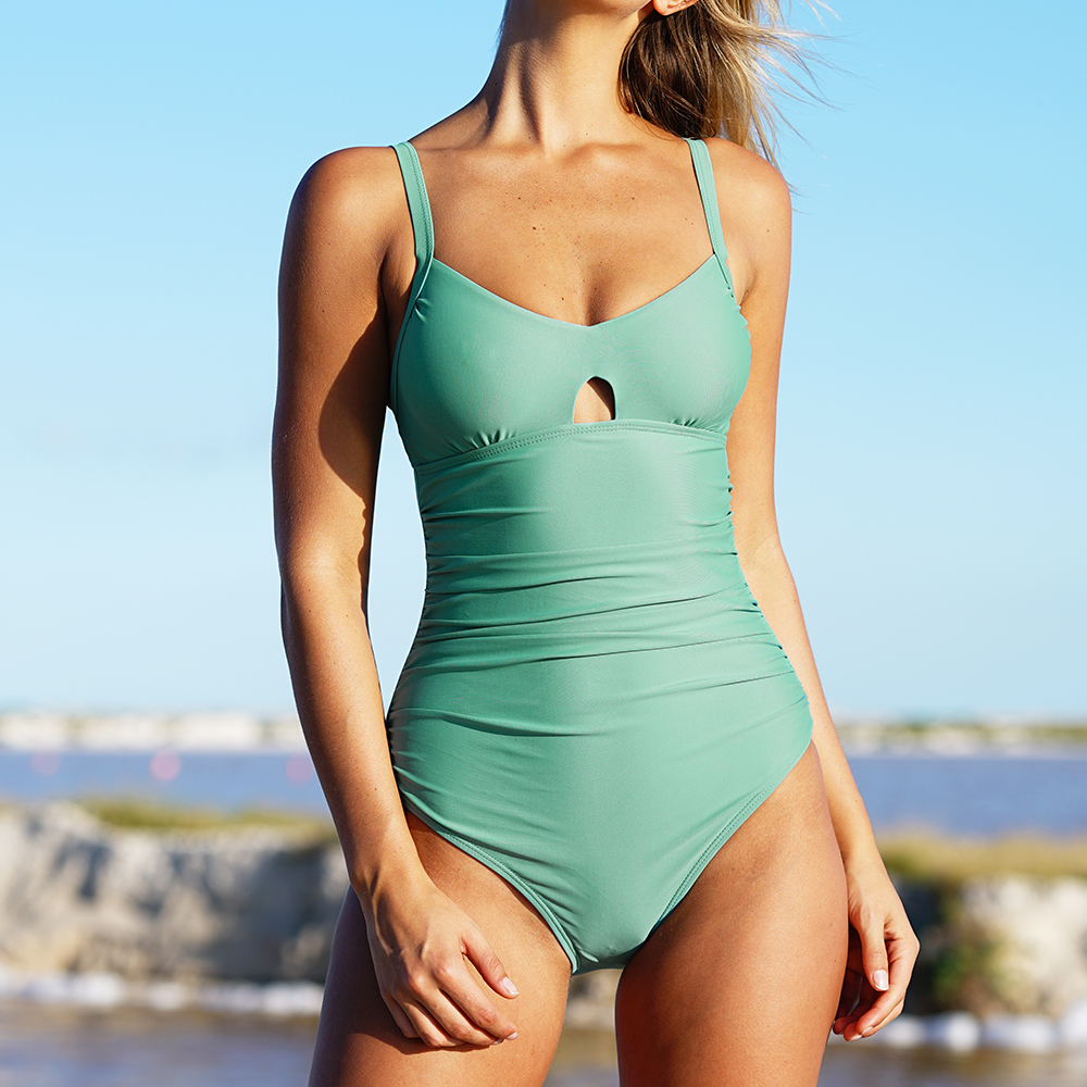 Cupshe Green Grass Solid One-piece Swimsuit Bikini Sets Push Up Bathing Suit Swimwear Brazilian Biquini Monokini Maillot De Bain another one bites the grass