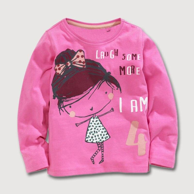 Детская футболка хлопковая одежда с круглым вырезом длинными рукавами и милой вышитой аппликацией для мальчиков и девочек одежда для детей...