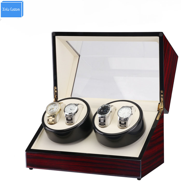 Global Use Plug Clock Watch Winder Box,Lacquer Wood Rotate 4 Slots Watch Winder Box Slient Motor Display Clock Winder Watch Case маша и медведь для тела
