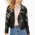 Women Black Flowers Embroidery PU Faux Zipper Pocke Jacket Leather Coat Lapel Long Sleeve Outwear European Street Wear Slim Tops