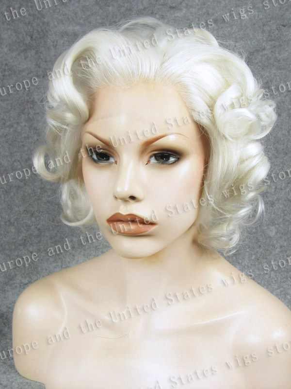 Marilyn Monroe Pruik Korte Bob Grey Zilver Bruin Synthetische Hittebestendige Fibre Krullend Kant Voor Mode accessoires te bevestigen Cosplay