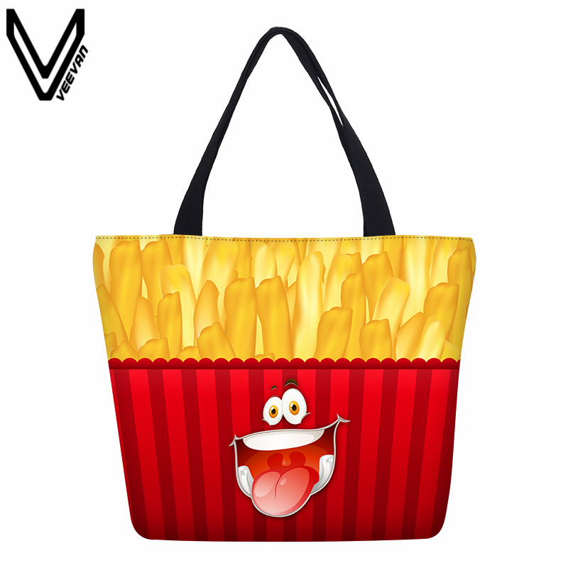 Designed Smiling Face Shopping Bags Hamburger Canvas Emoji Cartoon Handbags Chips Food Printing Tote Bags