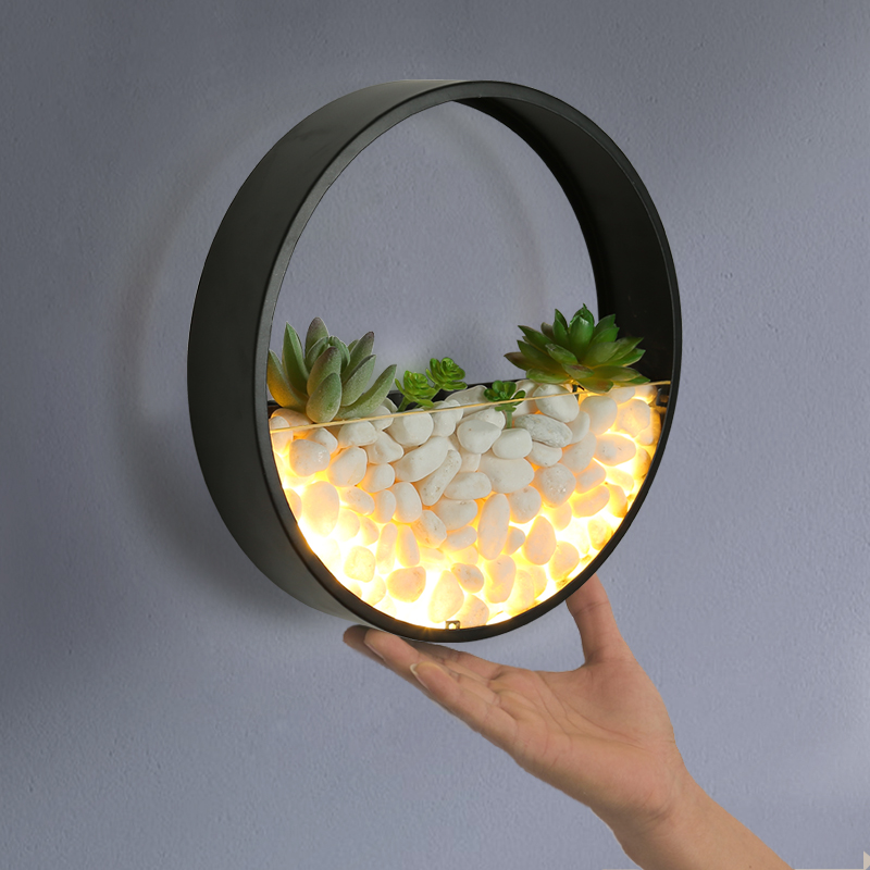 Nordic Wall Lamp with Succulent Planter Iron Circle Round Wall Hanging Planter Beside Light Sconce Wall Light Wall Art Decor colorful stone wall print tapestry wall hanging art