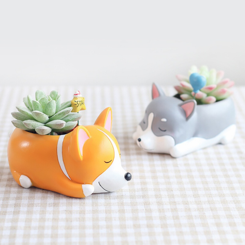 Creative Home Office Decor Cute Cartoon Animals Pet Dogs Sleeping Pot Plants Resin Vase Succulent Flower