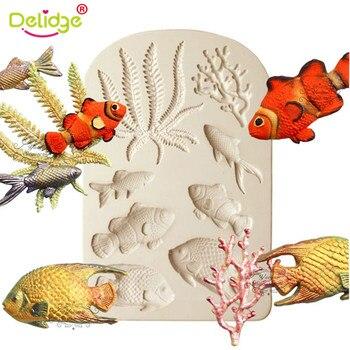 Delidge 1 pieza 3D mar Animal pez Coral silicona pastel molde Fondant forma decoración bandeja de hornear Chocolate molde confitería Gadge