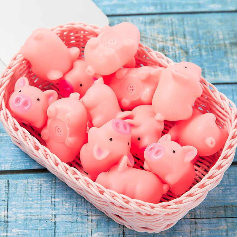 3 Pcs/lot Baru Lucu 4.5 Cm Anjing Mainan Berwarna Merah Muda Menjerit Karet Babi Hewan Peliharaan Mainan Mencicit Squeaker Chew Hadiah Dekorasi Rumah gratis Pengiriman