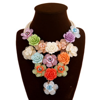 Handmade Spring Flowers Luxury Color Acrylic Crystal Statement Necklace Best Gift For Women Choker Necklace