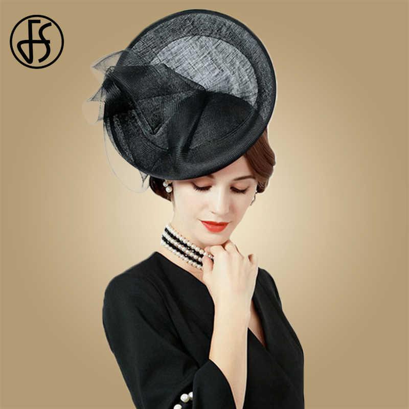 a1b659c9 FS European Hat Wedding Women Fascinators Black Ladies Church Hats Sinamay  Large Kentucky Derby Fedoras Chapeu