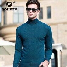 ROHOPO Knitting Sweater Man Spring 2019 100% Cashmere Wool Sweatershirt Autumn Keep Warm Knitted Under pullovershirt Man Sweater