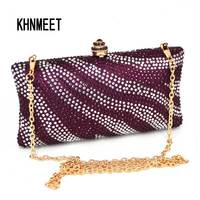 Luxe Paars Crystal Clutch Avondtasje Fashion sparkly Goedkope Diamond Bruiloft Clutch banket Tas soiree pochette Purse 31
