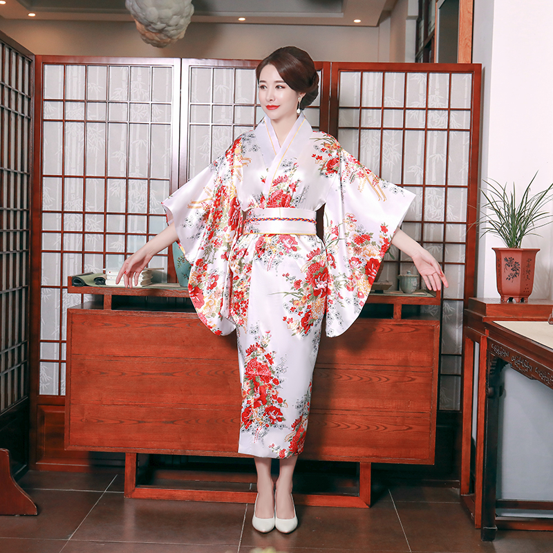 Rayon Female White Kimono Bathrobe Gown Cosplay Costume Print Flower Stage Performance Clothing Japanese Style Yukata With Obi