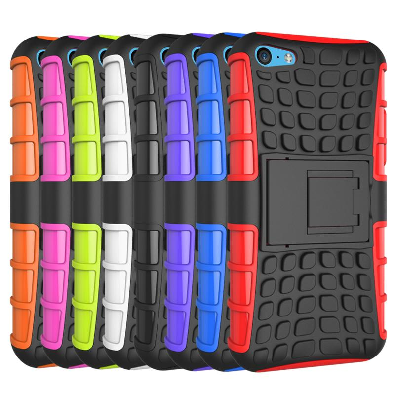 For iPhone 5c Case Heavy Duty Armor Shockproof Hybird Hard Soft Silicon Rugged Rubber Phone Cover 5c Case with Stand Function
