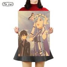 TIE LER Sword Art Online A Style Japanese Cartoon Comic Kraft Paper Bars Cafe  Poster Retro Decor Painting Wall Sticker 51x36cm