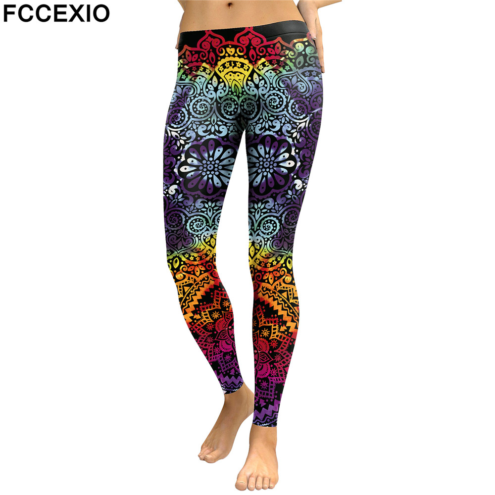 FCCEXIO Women   Leggings   Mandala Flower 3D Printed Patchwork Color Fitness Leggins Slim High Waist Elastic Trousers Pants Legins