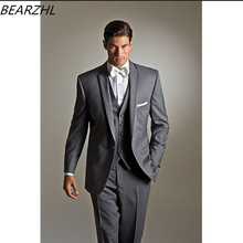 suit slim fit men business groom suits light gray custom made tuxedos for wedding 2019