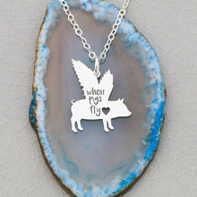 Flying Pig Necklace Memorial Pig Loss Pet Pig Gift Jewelry Pig Lover Any Words Can Be Customed Accept Drop Shipping YP6067 baby pig pig walks