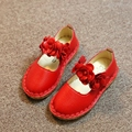 children cute red birthday shoes floral decoration small size  dance shoes for child junior school student pu leather shoes