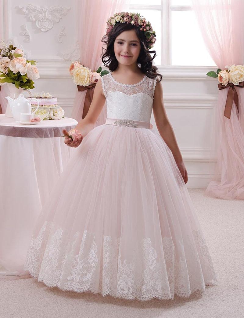 2017 Flower Girl Dresses For Weddings Light Pink Long Floral Lace O