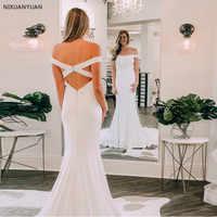 Fora Do Ombro Vestido de Noiva Sereia Cruzado Voltar Capela Trem Branco Marfim Vestido De Novia Simples Botão Coberto Vestidos de Casamento