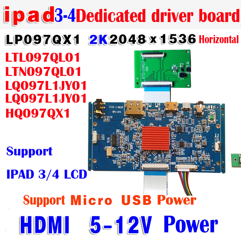 IPAD3/4 9.7Inch LCD Dedicated HDMI Driver Board 2K 2048*1536 Ultra-thin Style LP097QX1 LTL097QL01 LTN097QL01 HQ097QX1 LQ097L1JY0