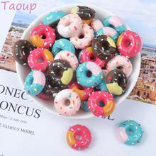 Taoup 10pcs Resin Creamy Dessert Artificial Donut Fake Food Prop Candy Donut Decor for Phone Happy Birthday Party Decor for Home