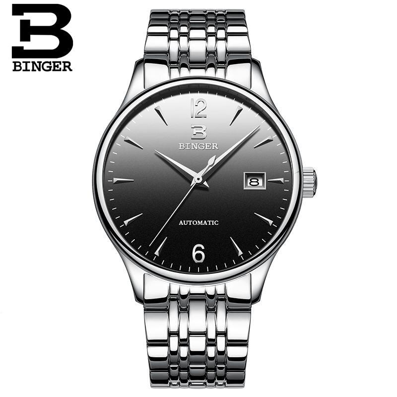 BINGER Swim อัตโนมัตินาฬิกาผู้ชายสแตนเลสธุรกิจนาฬิกาข้อมือแฟชั่นกันน้ำจริงๆ 30M นาฬิกาชาย Relogio Masculino-ใน นาฬิกาข้อมือกลไก จาก นาฬิกาข้อมือ บน   1