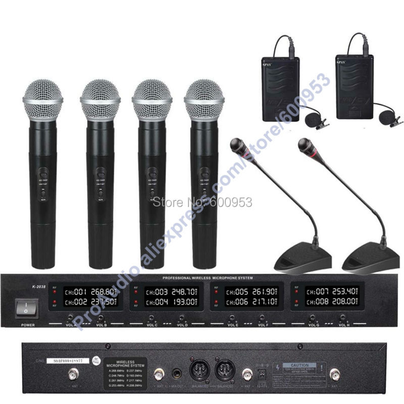 First-Class Digital Wireless Audio Microphone Mic System - 4 Handheld 2 Lavalier 2 Meeting Conference Desktop Gooseneck Mic high end uhf 8x50 channel goose neck desk wireless conference microphones system for meeting room