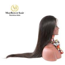 """Mayflower 13x"""" парики на шнурках Необработанные девственные прямые волосы натуральный цвет 150% Плотность отбеленные узлы с линией волос младенца"""
