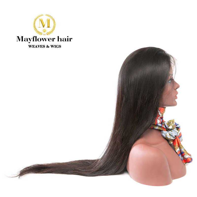 "Mayflower 13x4"" Lace Front Wigs 100% Raw Virgin Straight Hair Natural color 150% Density Bleached knots with baby hair line"