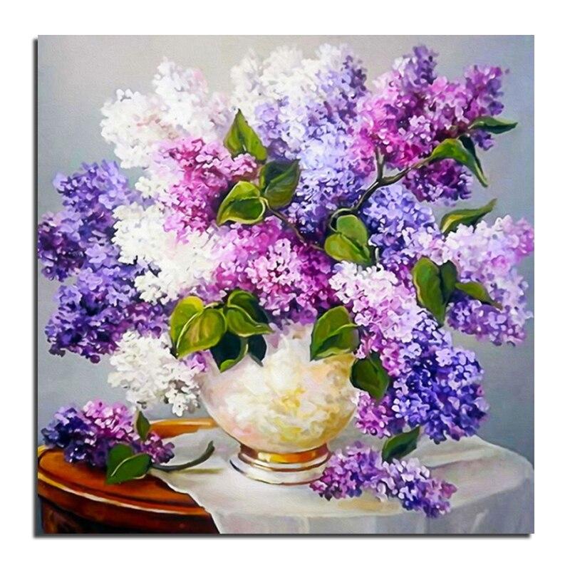 Lilac bloom 35x35 3D DIY diamant broderi målning full rhinestone - Konst, hantverk och sömnad