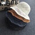 La primavera y el verano de Corea estrella con el Departamento de fino tejido de punto de algodón plegable hoja de loto pescador sombrero del casquillo del sombrero sombrero