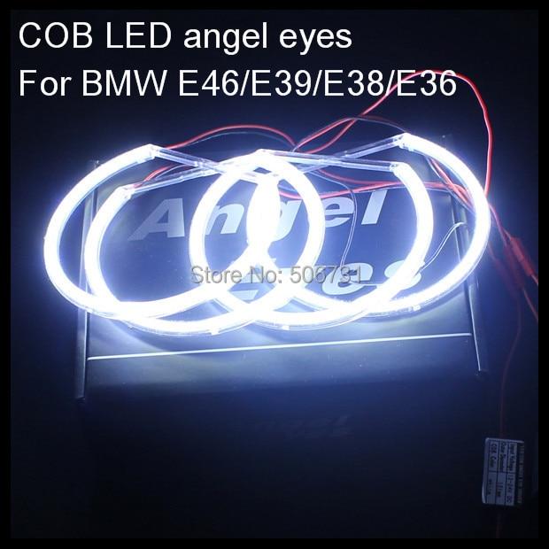 For BMW E38 E36 E39 E46 LED angel eyes rings COB LED halo rings kit for BMW E46 with projector 4*131mm LED angel eyes for BMW car styling 131mm 4 led cob angel eyes halo rings kit for bmw e46 e39 e38 e36 3 5 7 series daytime runing lights drl retrofit