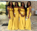 Black Girls Amarillo Sirena Vestidos de dama de Honor 2017 de Largo Formal Del Banquete de Boda del Satén Del Hombro robe demoiselle d'honneur