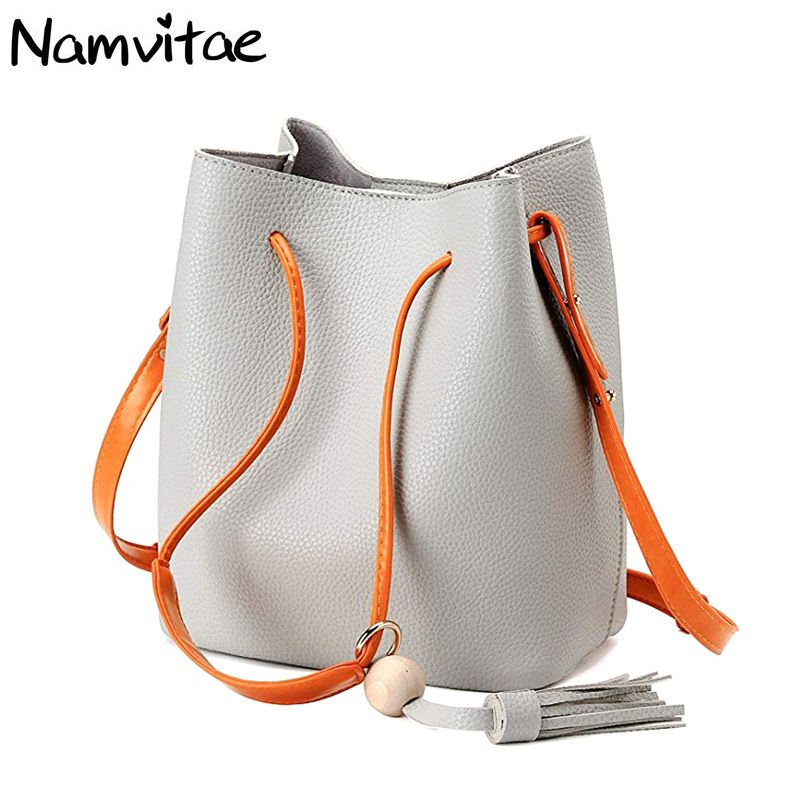 Fashion Bucket Women Bag Women Handbag Sling Shoulder Bag Drawstring Crossbody Clutch Purse New Tassel Women Messenger Bags