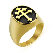 Men's Lorraine Cross Ring Gold Silver Color Titanium Stainless Steel Crux Vera Cross Rings for Men Punk Jewelry US Size 7 -14 punk style layered stainless steel cross ring for men