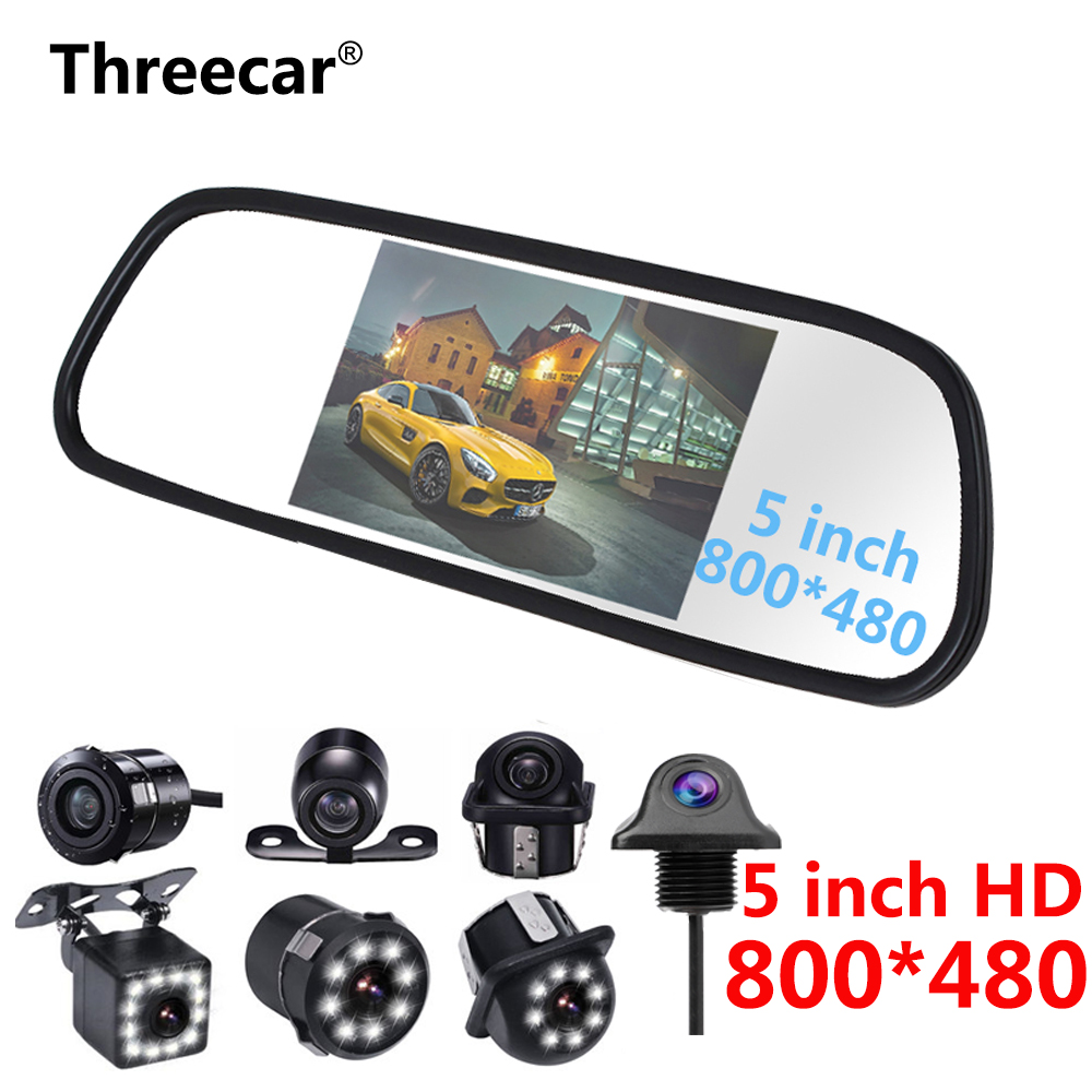 5 Inch TFT LCD Car Mirror Monitor Display Reverse Camera Parking System for Night Vision Car Reversing Backup Camera NTSC PAL