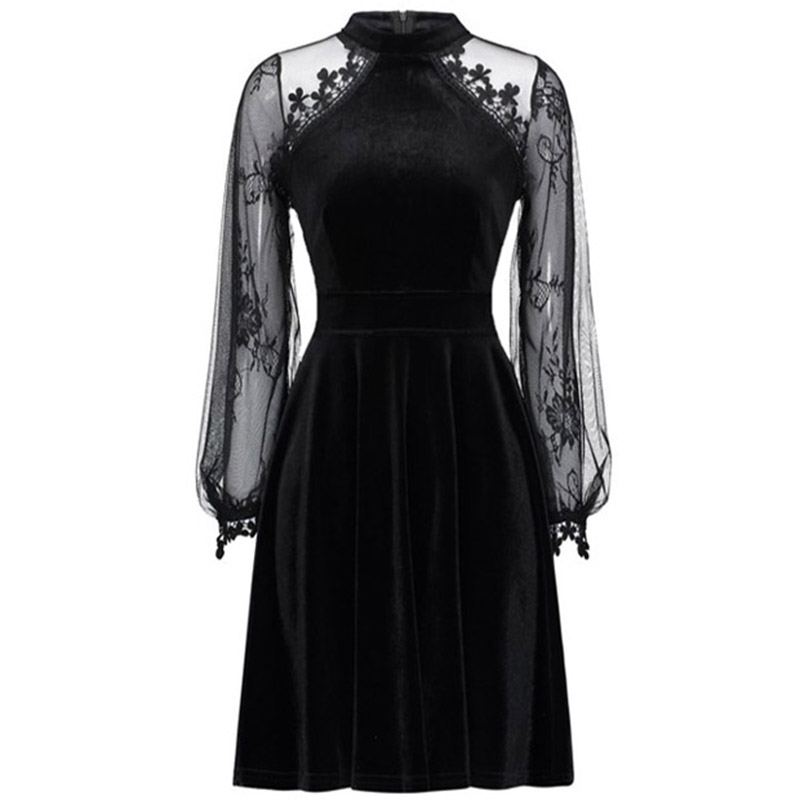 Gothic Women Black Lace Dress Long Sleeve 2018 New Autumn Pleated Solid Lantern Sleeves High Waist Female Elegant A line Dresses