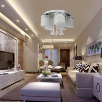 5 Heads Coffee Shop Ceiling Light Hollow Out Crystal Home Hanging LED RGB Lamp for Living Room