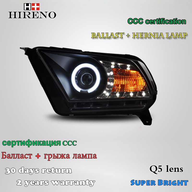 Hireno Car styling Headlamp for Ford Mustang GT500 Headlight Assembly LED DRL Angel Lens Double Beam HID Xenon 2pcs hireno car styling headlamp for 2003 2007 honda accord headlight assembly led drl angel lens double beam hid xenon 2pcs