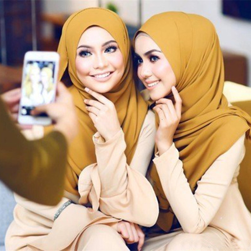 Hijab Scarf Muslim Shawl Instant Ready-To-Wear Chiffon Women Wrap-Head Arab Fashion Solid