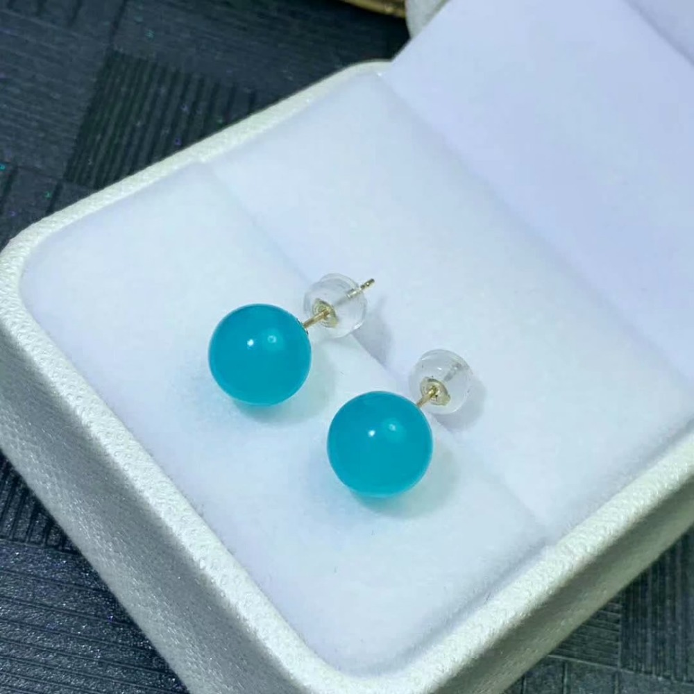 shilovem 18K yellow Gold Natural real amazonite stud earrings fine Jewelry classic women gift plant party