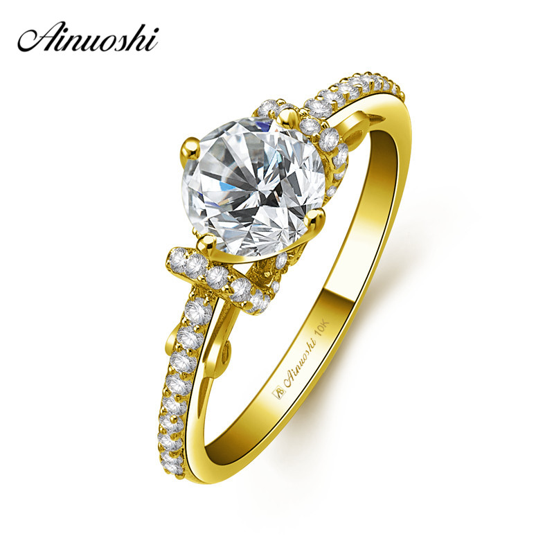 AINUOSHI 10k Solid Yellow Gold Bridal Ring 4 Prongs 1ct Round Cut SONA Diamond Wedding Engagement Jewelry Shinning Flower Bands electronic pulse body slimming massage with electrode pads for muscle relax muscle stimulator voice features massage slippers