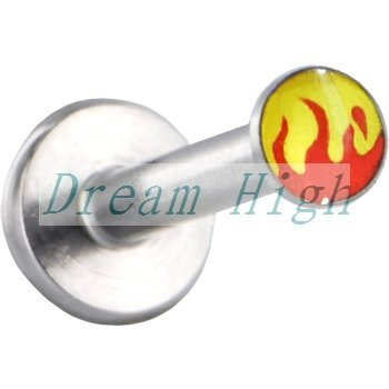 HENGKE Jewelry Fire Style Labret Piercing Lip Stud Ring With Burning Flame Logo 316l Surgical Steel 200pcs/lot Free Shipping