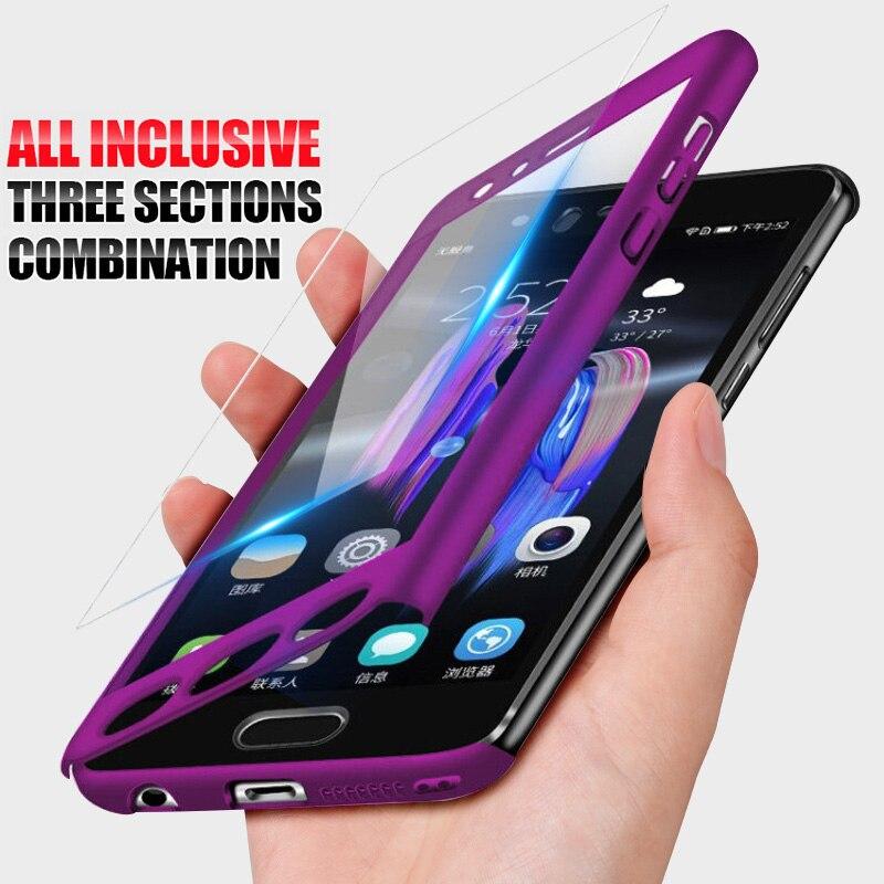 360 Protection Complet Housse de Téléphone étui pour samsung Galaxy A750 A7 A6 A8 Plus 2018 A3 A5 J3 J5 J7 2016 2017 Cas Trempé Verre