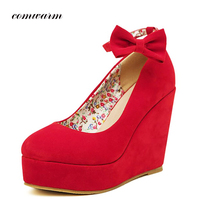 New High Heels Bow Flock Flower Canvas Handmade Women Shoes Red and Black Casual Shoes Elegant Woman Party Wedges Shoes