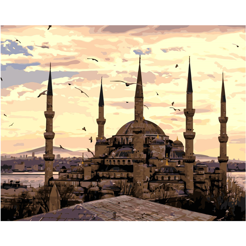 Turkey <font><b>Istanbul</b></font> Hand Made Paint High Quality Canvas Beautiful Painting By Numbers Surprise Gift Great Accomplishment image