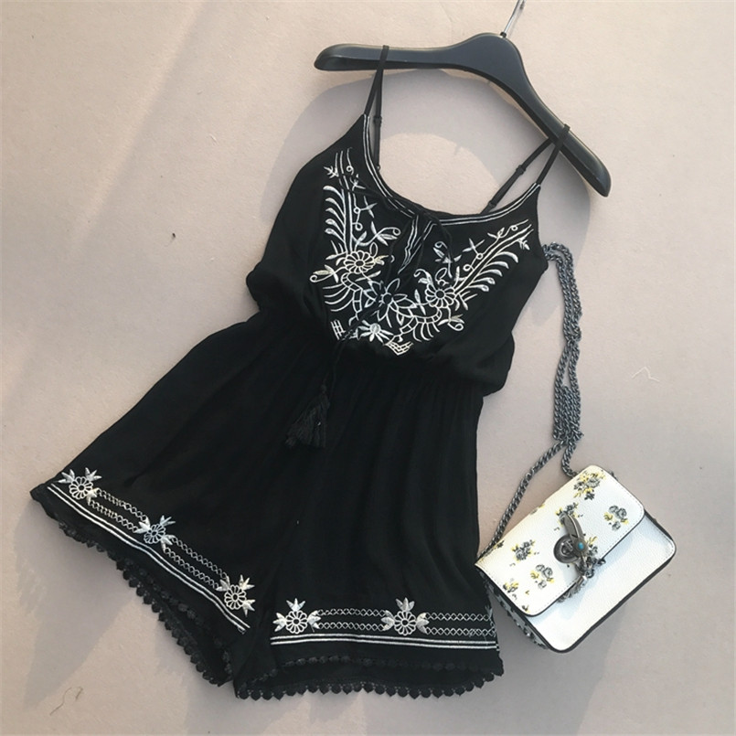 Boho 2019 Embroidery Jumpsuit Casual Spaghetti Strap Sexy Women Tie Playsuit Summer Lace Patchwork Beach Overalls Holiday Romper