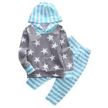 2pcs!!Newborn Baby Girl Boys Autumn Clothes Hooded Long Sleeve Star Tops Shirt+Striped Pants Leggings 2pcs Outfits Set