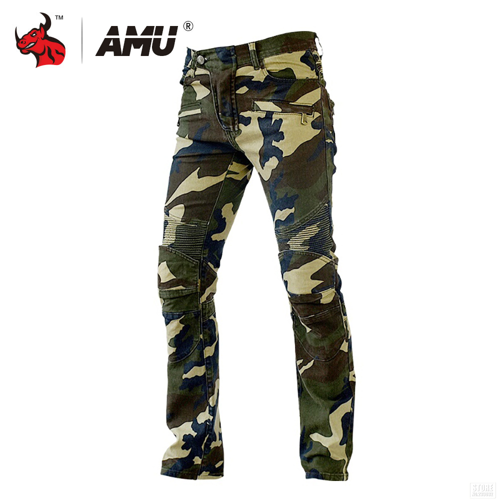 AMU Motorcycle Jeans Camouflage Denim Biker Motorbike Racing Pants Motocross Moto Pants Protective Gear with Protector zipper fly pleat distressed biker pants